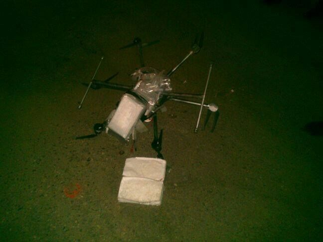 drone-carrying-three-kilos-of-meth-crashes-in-tijuana © Photo via Secretaría de Seguridad Pública Tijuana